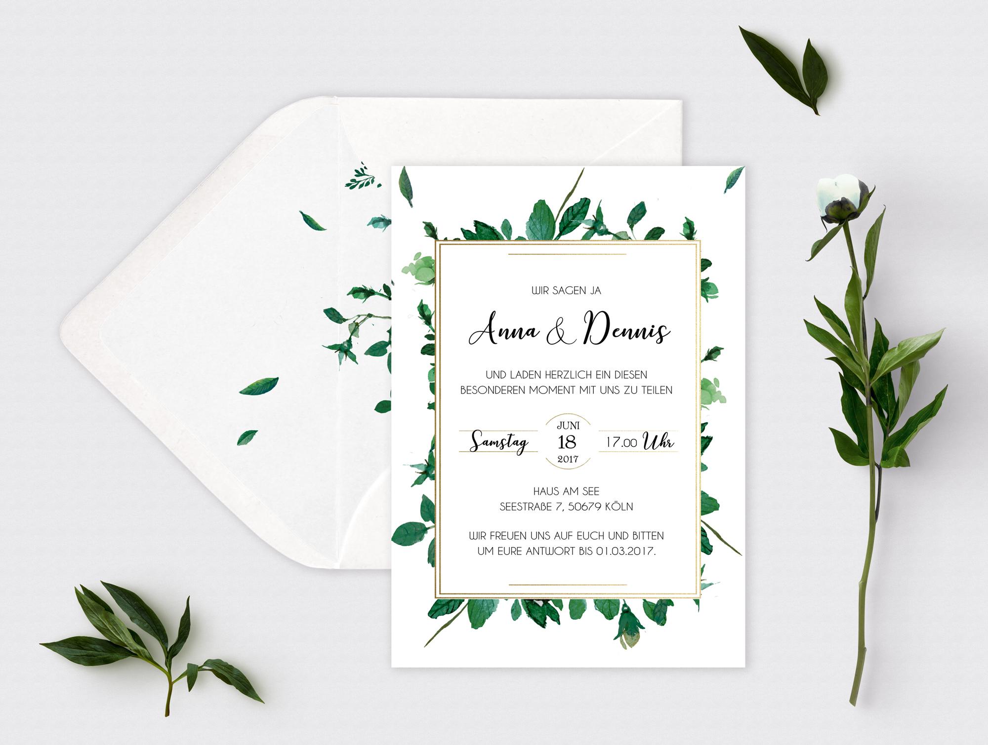 Hochzeitseinladung Greenfields