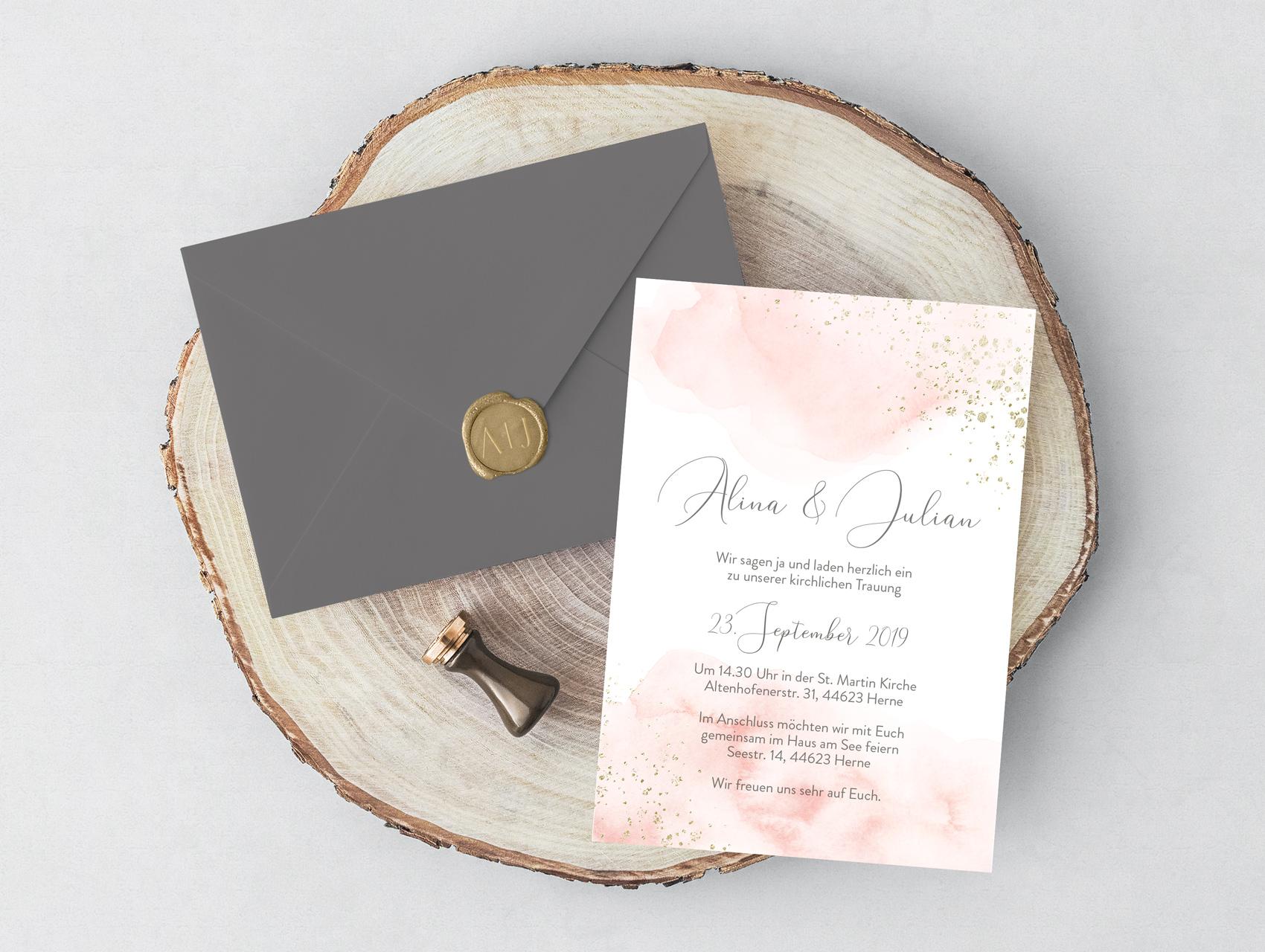 Hochzeitseinladung Blush Gold