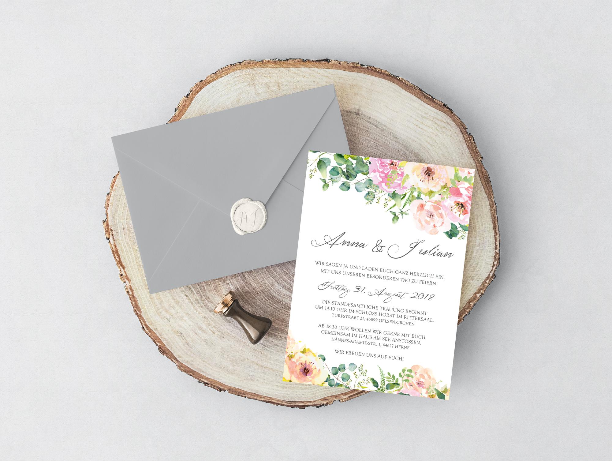Hochzeitseinladung Lovely Flowers