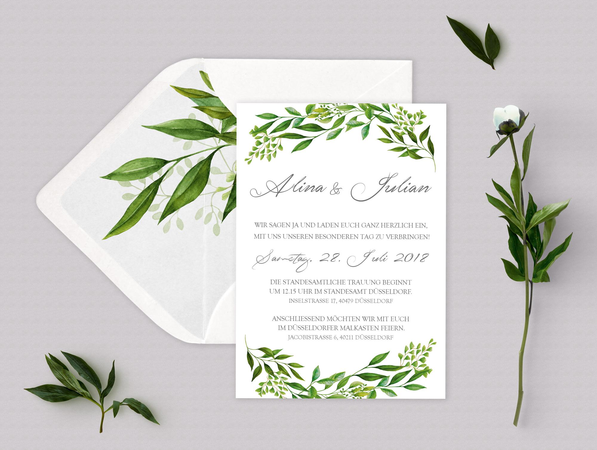 Hochzeitseinladung Greenery